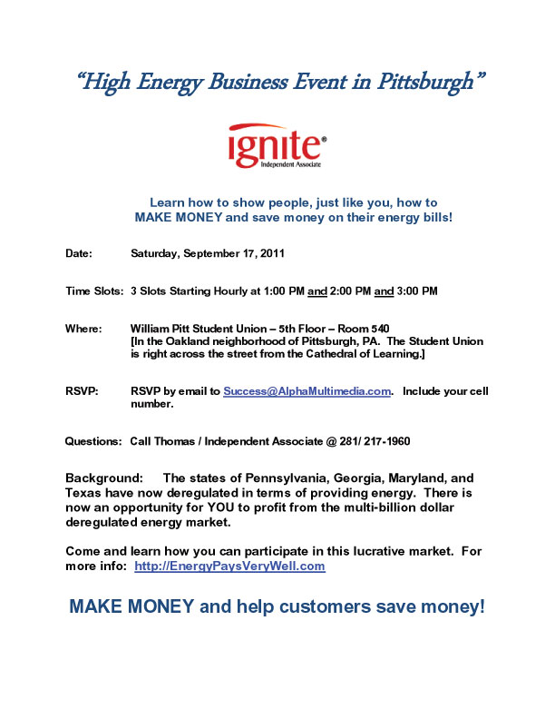 You're Invited to a High Energy Business Event in Pittsburgh - Saturday, September 17, 2011 - William Pitt Student Union, Pittsburgh, PA