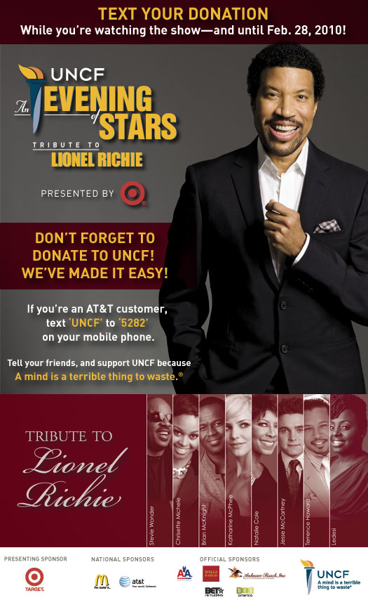 UNCF's An Evening of Stars Text Donations