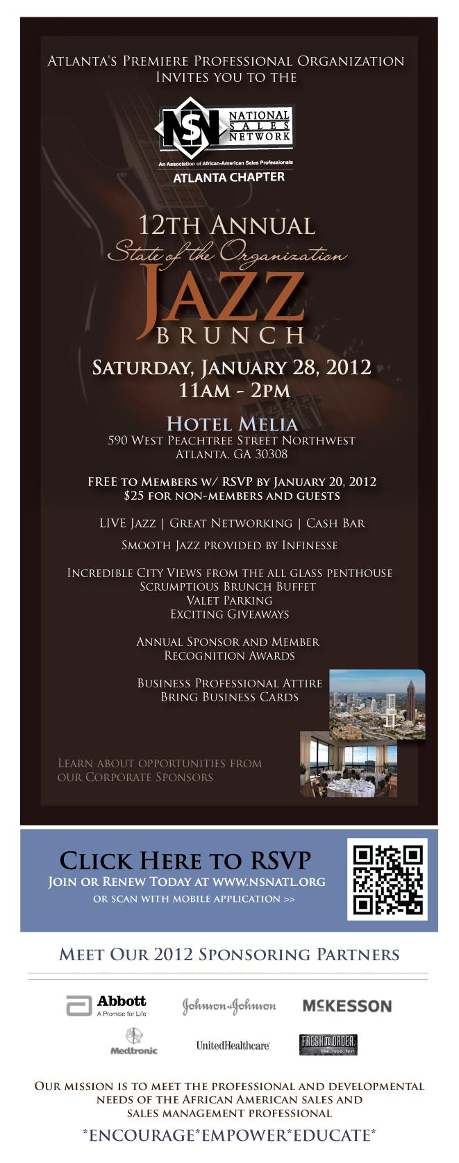 NSN Atlanta 12th Annual State of the Organization Jazz Brunch | Saturday, January 28, 2012 | Hotel Melia | Limited Tickets Available